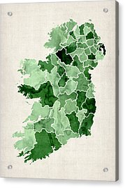 Ireland Watercolor Map Acrylic Print by Michael Tompsett