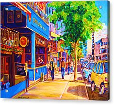 Irish Pub On Crescent Street Acrylic Print by Carole Spandau