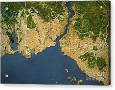 Istanbul City Topographic Map Natural Color Acrylic Print by Frank Ramspott