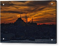 Istanbul Sunset - A Call To Prayer Acrylic Print by David Smith