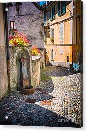 Italian Alley With Fountain Acrylic Print by Silvia Ganora