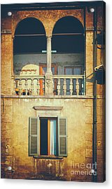 Italian Arched Balcony Acrylic Print by Silvia Ganora