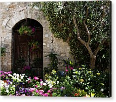 Italian Front Door Adorned With Flowers Acrylic Print by Marilyn Hunt