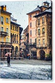 Italian Square On A Snowy Day Acrylic Print by Silvia Ganora