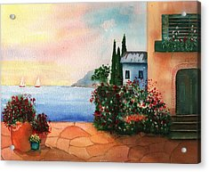 Italian Sunset Villa By The Sea Acrylic Print by Sharon Mick