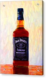 Jack Daniel's Tennessee Whiskey 80 Proof - Version 1 - Painterly Acrylic Print by Wingsdomain Art and Photography