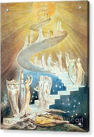 Jacobs Ladder Acrylic Print by William Blake