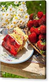 Jaffa Cake With Strawberries And Gelatin  Acrylic Print by Arletta Cwalina
