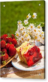 Jaffa Cake With Strawberries And Red Gelatin  Acrylic Print by Arletta Cwalina