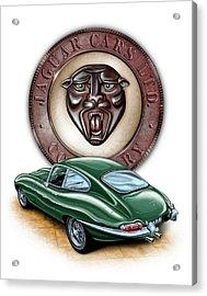 Jaguar Xke British Racing Green Acrylic Print by David Kyte