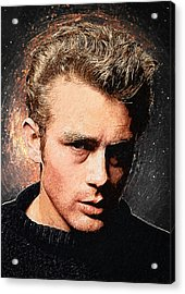1950s Portraits Acrylic Print featuring the digital art James Dean by Taylan Apukovska