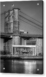 Jane's Carousel Brooklyn Bridge Bw Acrylic Print by Susan Candelario