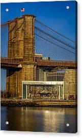 Jane's Carousel Brooklyn Bridge Acrylic Print by Susan Candelario