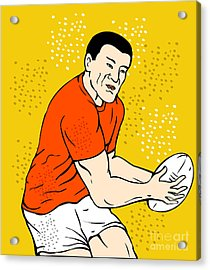 Japanese Rugby Player Passing Ball Acrylic Print by Aloysius Patrimonio