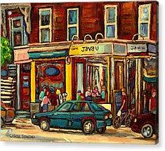 Java U Coffee Shop Montreal Painting By Streetscene Specialist Artist Carole Spandau Acrylic Print by Carole Spandau