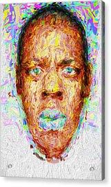 Jay Z Painted Digitally 2 Acrylic Print by David Haskett