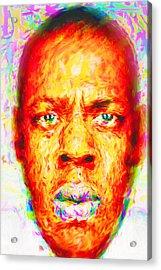 Jay-z Shawn Carter Digitally Painted Acrylic Print by David Haskett
