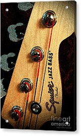 Jazz Bass Headstock Acrylic Print by Todd A Blanchard