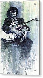 Jazz Bluesman John Lee Hooker 04 Acrylic Print by Yuriy  Shevchuk