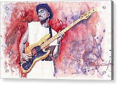 Jazz Guitarist Marcus Miller Red Acrylic Print by Yuriy  Shevchuk