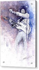 Jazz Rock Jimi Hendrix 07 Acrylic Print by Yuriy  Shevchuk