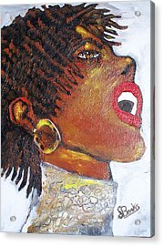 Jazz Singer Jade Acrylic Print by Samuel Banks