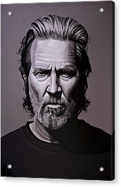 Jeff Bridges Painting Acrylic Print by Paul Meijering