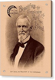 Jefferson Davis Vintage Advertisement Acrylic Print by War Is Hell Store