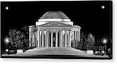 Jefferson Memorial Lonely Night Acrylic Print by Olivier Le Queinec