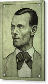 Jesse James Acrylic Print by James W Johnson