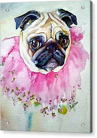 Jester Pug Acrylic Print by Christy  Freeman