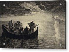 Jesus Walking On The Sea Acrylic Print by Albert Robida
