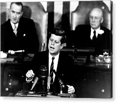 Jfk Announces Moon Landing Mission Acrylic Print by War Is Hell Store