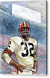 Jim Brown Acrylic Print by Dave Olsen