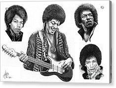 Jimi Hendrix Collage Acrylic Print by Murphy Elliott
