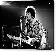 Jimi Hendrix Live Halo 1970 Acrylic Print by Chris Walter