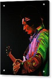 Jimi Hendrix Painting 4 Acrylic Print by Paul Meijering