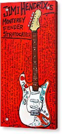 Jimi Hendrix's Monterey Strat Acrylic Print by Karl Haglund