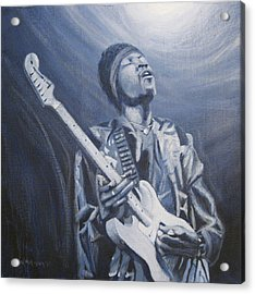 Jimi In The Bluelight Acrylic Print by Michael Morgan