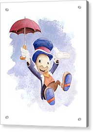 Jiminy Cricket With Umbrella Acrylic Print by Andrew Fling