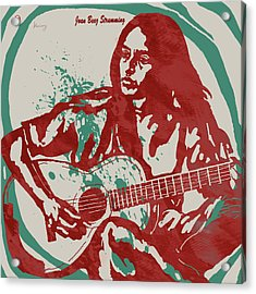 Joan Baez Strumming Pop Stylised Art Sketch Poster Acrylic Print by Kim Wang