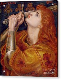 Joan Of Arc Acrylic Print by Dante Charles Gabriel Rossetti