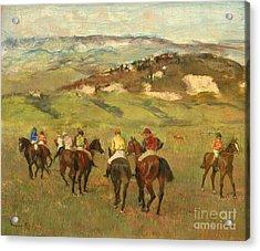 Jockeys On Horseback Before Distant Hills Acrylic Print by Edgar Degas