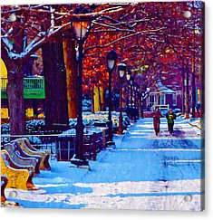 Jogging In The Snow Along Boathouse Row Acrylic Print by Bill Cannon