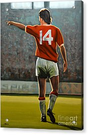Johan Cruyff Oranje Nr 14 Acrylic Print by Paul Meijering