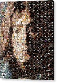 John Lennon Beatles Albums Mosaic Acrylic Print by Paul Van Scott