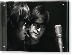 John Lennon Paul Mccartney Wordscapes  Acrylic Print by Iconic Images Art Gallery David Pucciarelli