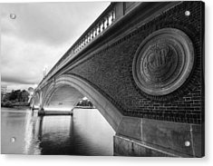 John Weeks Bridge Charles River Harvard Square Cambridge Ma Black And White Acrylic Print by Toby McGuire