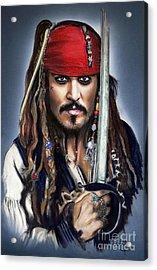 Johnny Depp As Jack Sparrow Acrylic Print by Melanie D