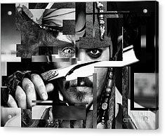 Johnny Depp - Collage Art Abstract - Black And White Acrylic Print by Prar Kulasekara